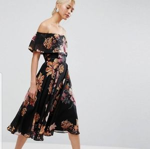 Black Floral Bardot Midi Dress